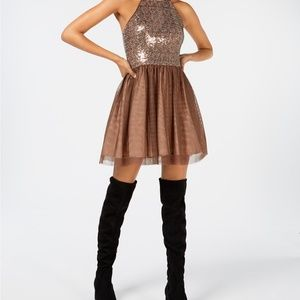 Blondie Nites Tie-Neck Sequin Fit & Flare Dress